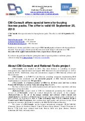 CM-Consult offers special terms for buying license packs. The offer is valid till September 25, 2010