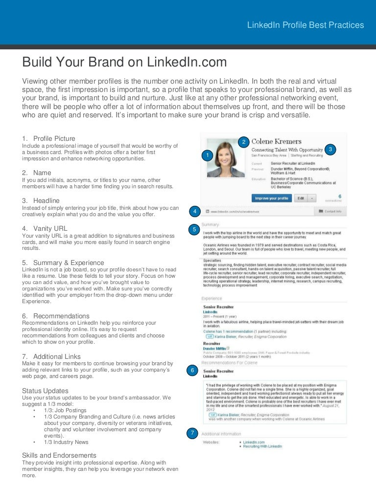LinkedIn Profile Best Practices Tip Sheet