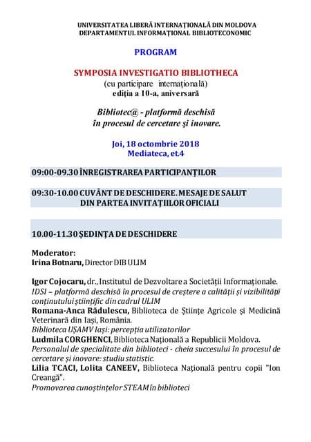 Program. symposia investigatio bibliotheca