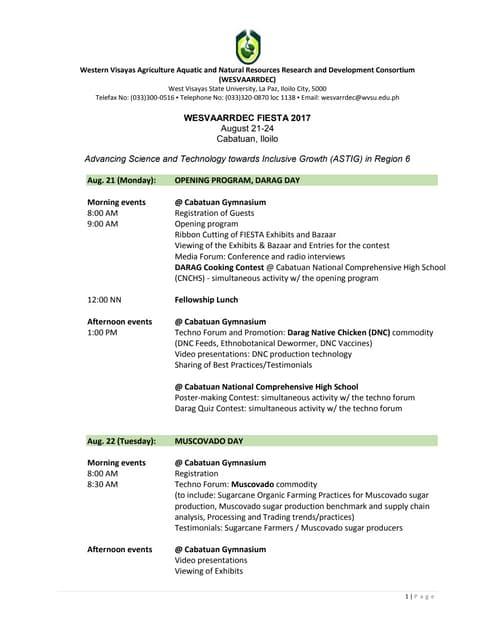 Program WESVAARRDEC FIESTA 2017