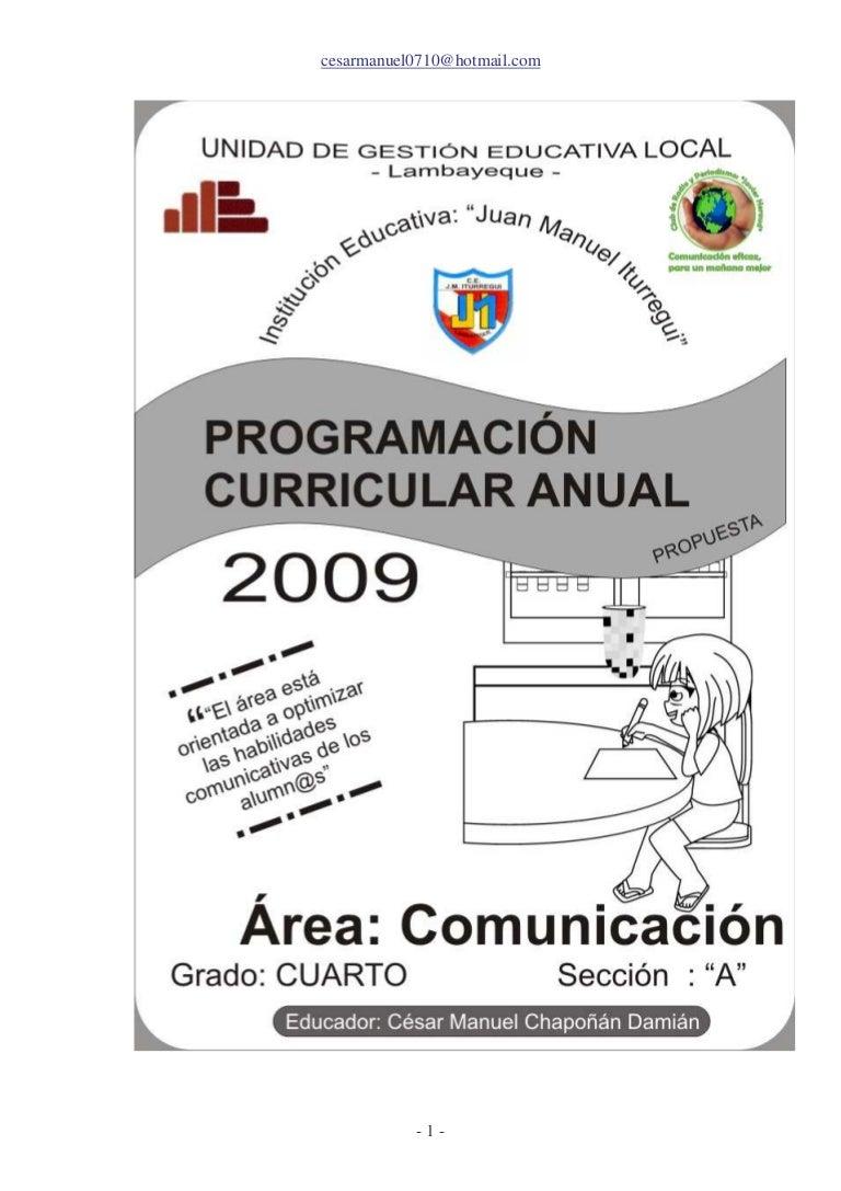 Programacion Anual 2009 Cuarto CéSar Manuel ChapoñáN DamiáN