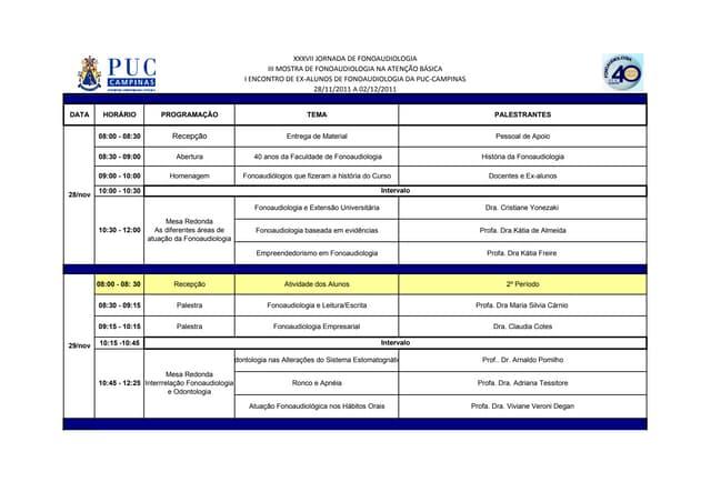 Programa da jornada de fonoaudiologia 2011