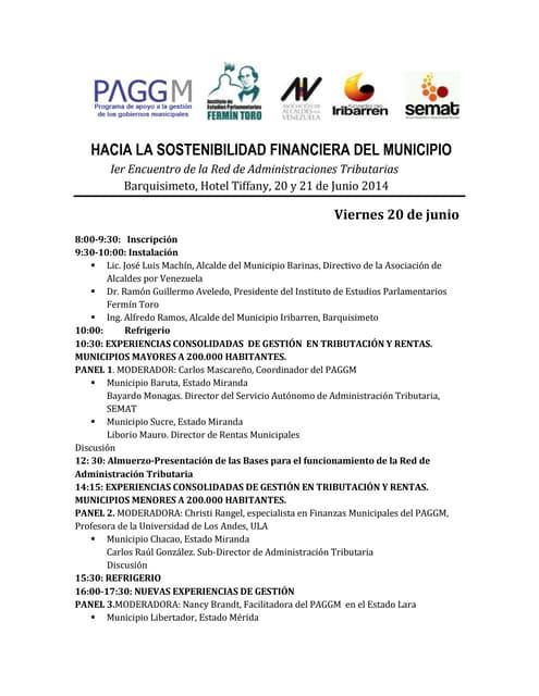Programa del 1er encuentro de administraciones Tributarias