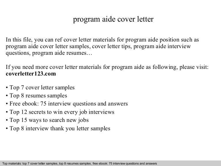 program aide cover letter - Program Aide Sample Resume