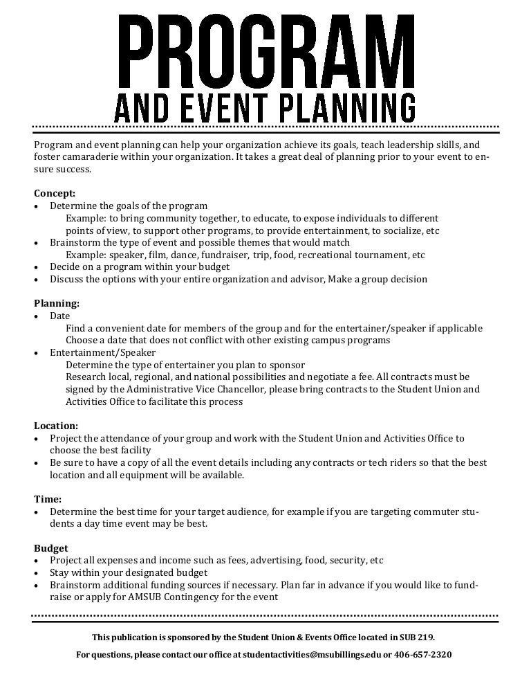 program and event planning