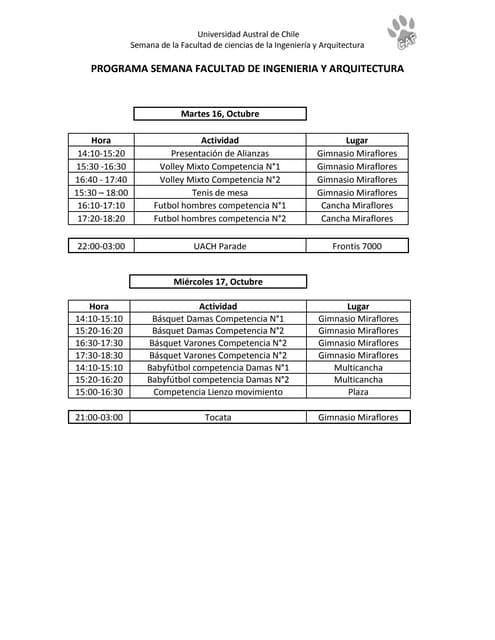 Programa semana facultad de ingenieríaa y arquitectura