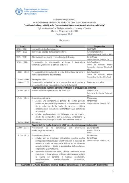 Programa seminario regional sobre políticas públicas con el sector privado