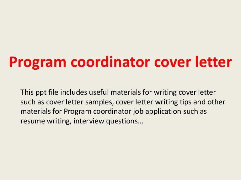 how to write a cover letter for program coordinator