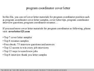 Sample Cover Letter For Program Coordinator. 7 College Internship ...