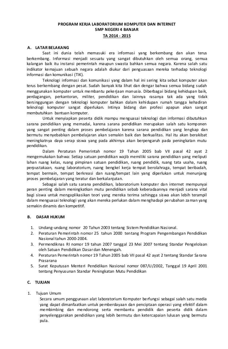 Program Kerja Lab Komputer Dan Internet Smp Negeri 4 Banjar Ta 2014 2