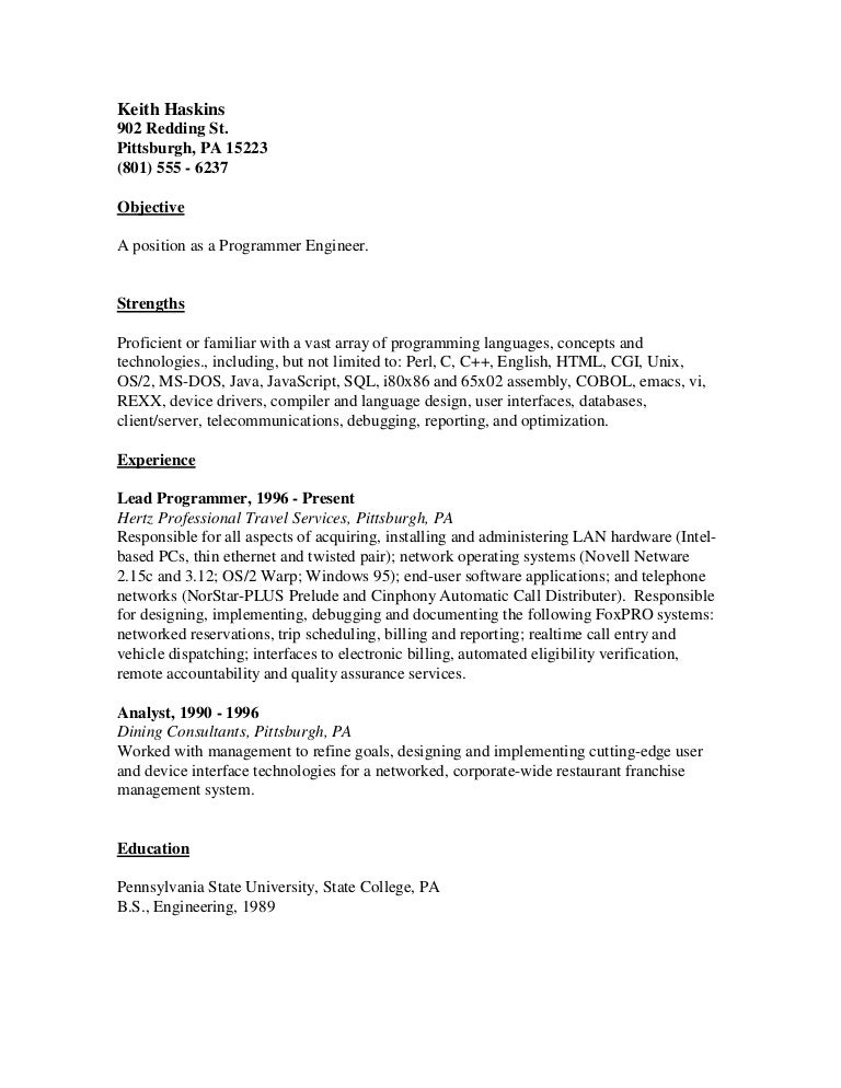 resume template thumbnail server position