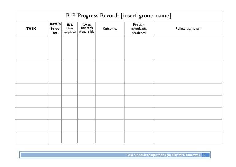 Progress task record-planning sheet