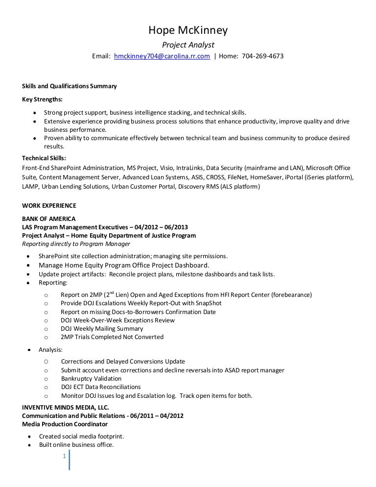 Proj Analyst Resume Hm 072013