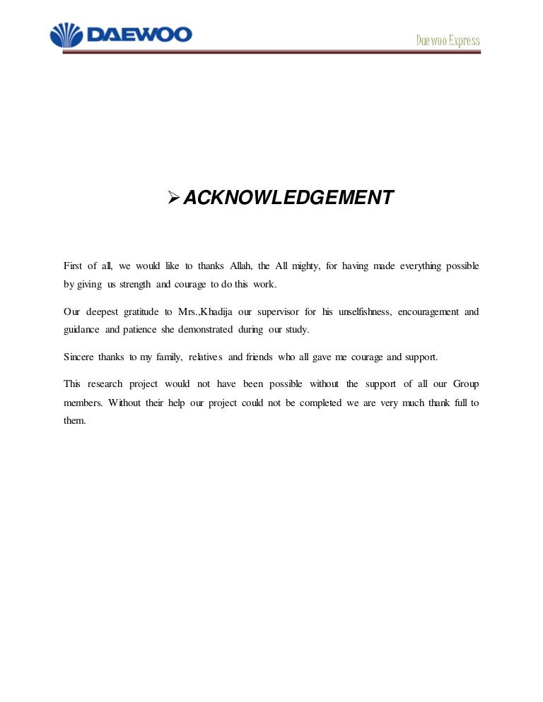 Daewoo Express stan Report