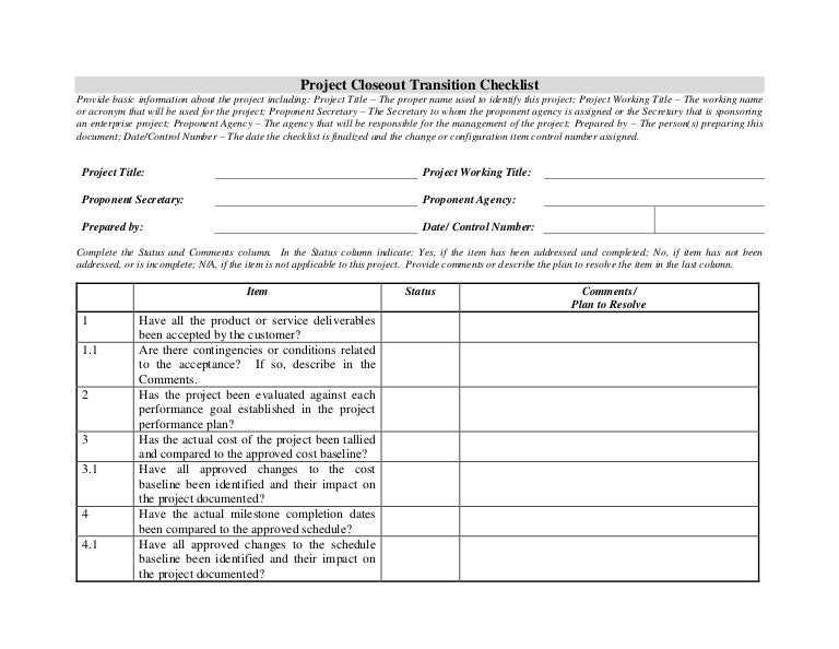 Closeout Transition Checklist
