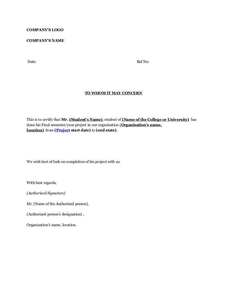 industrial training confirmation letter sample format