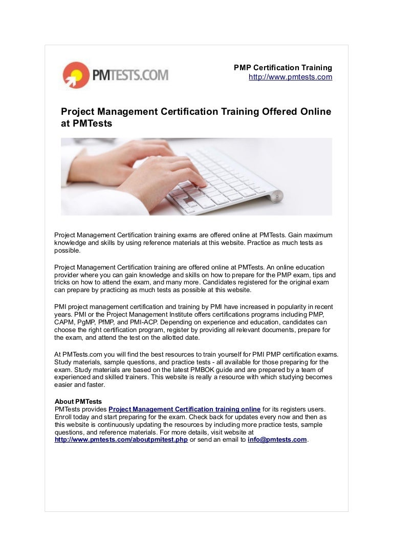 Project Management Certification Training Offered Online At Pmtests
