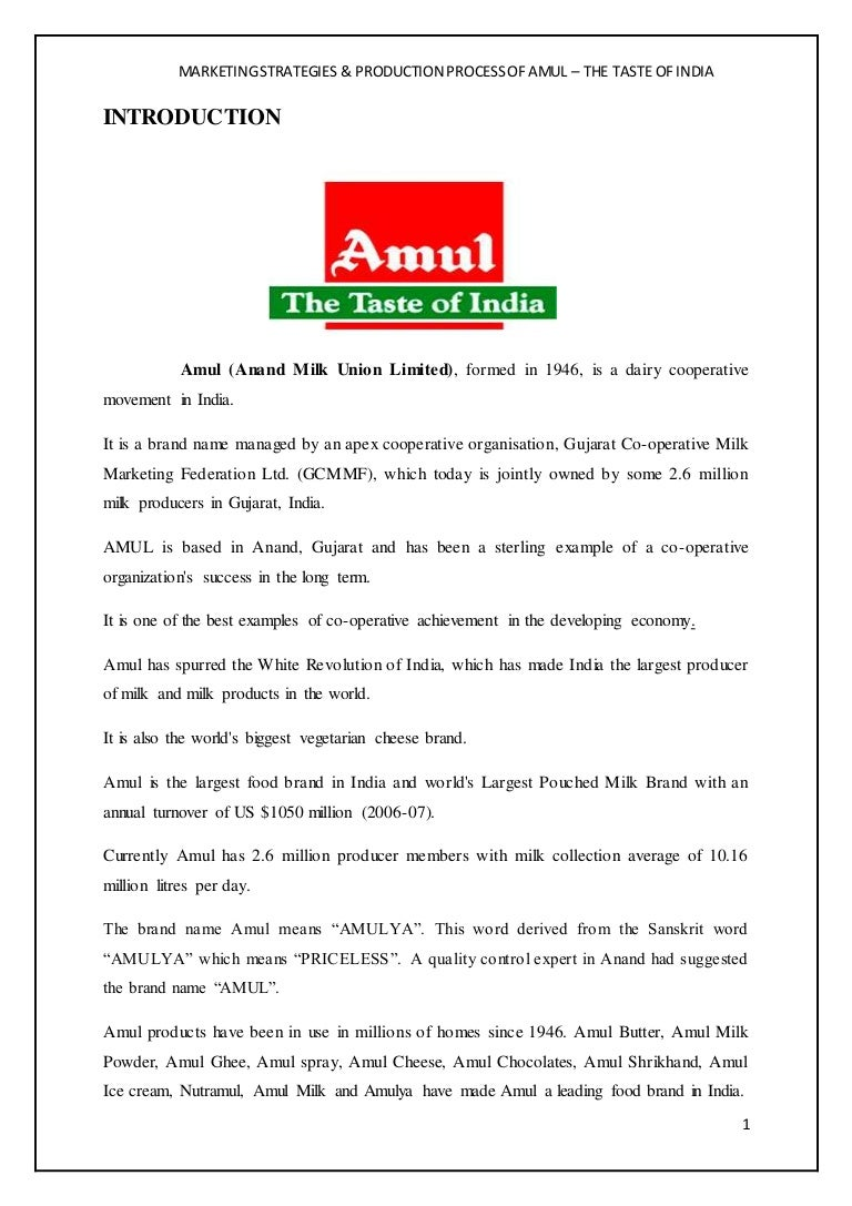 Amul Marketing Strategy Pdf