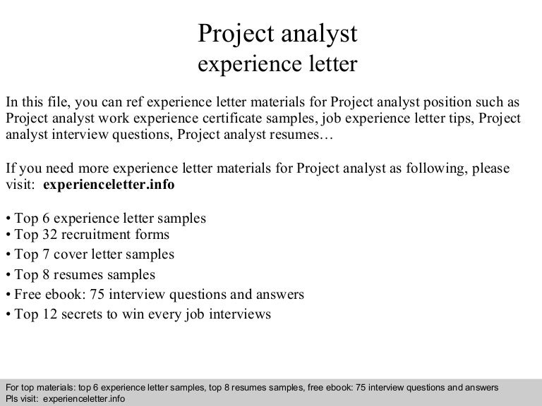 project analyst resumes