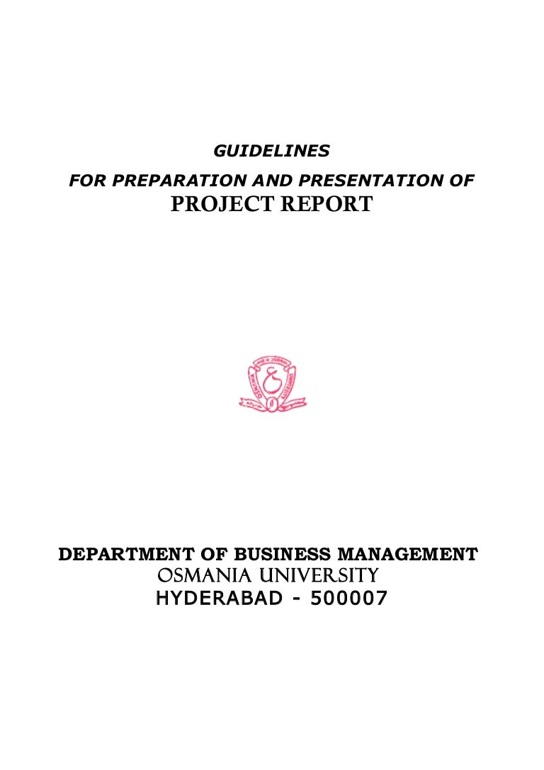 mba project report as per osmania university