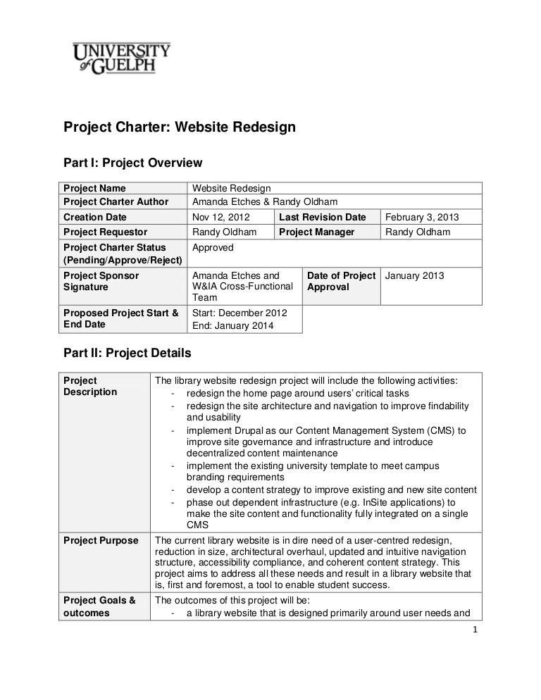 Project Charter Website Design