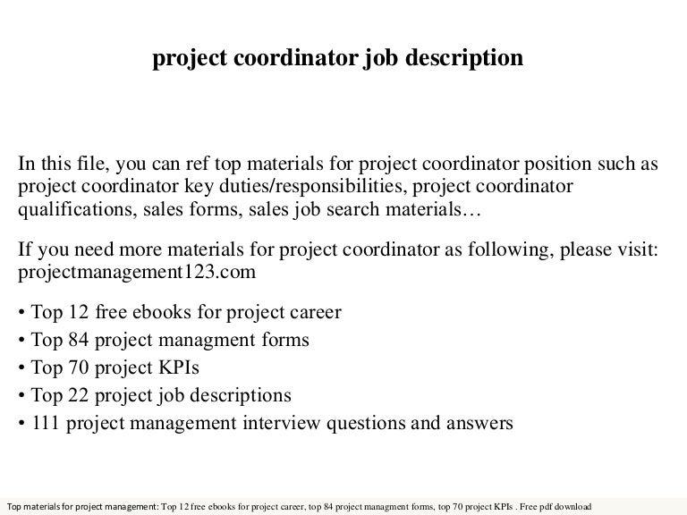 Doc19201080 Project Coordinator Job Description Project – Project Coordinator Job Description