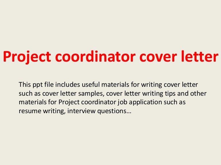 SlideShare  Project Coordinator Cover Letter