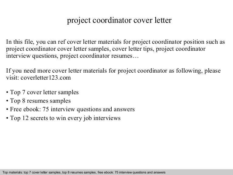 Project coordinator cover letter – Project Coordinator Cover Letter