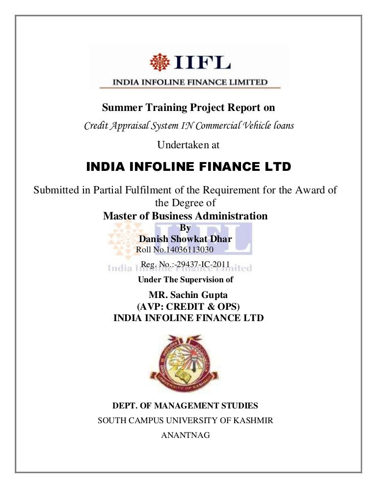 3a4234f2fb Credit Appraisal System IN Commercial Vehicle loans Undertaken at INDIA  INFOLINE FINANCE LTD