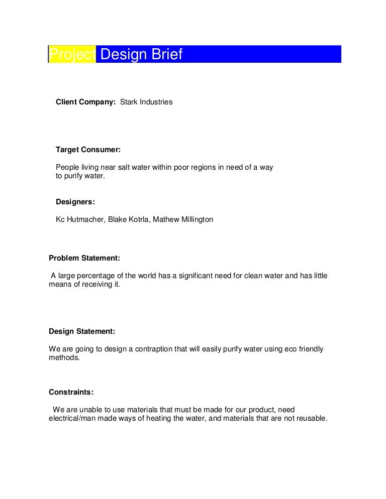 Project Brief Template Brief Example Framework Example Project