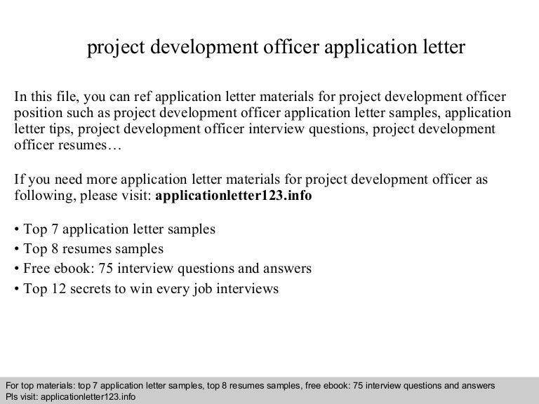 Project Development Officer Application Letter