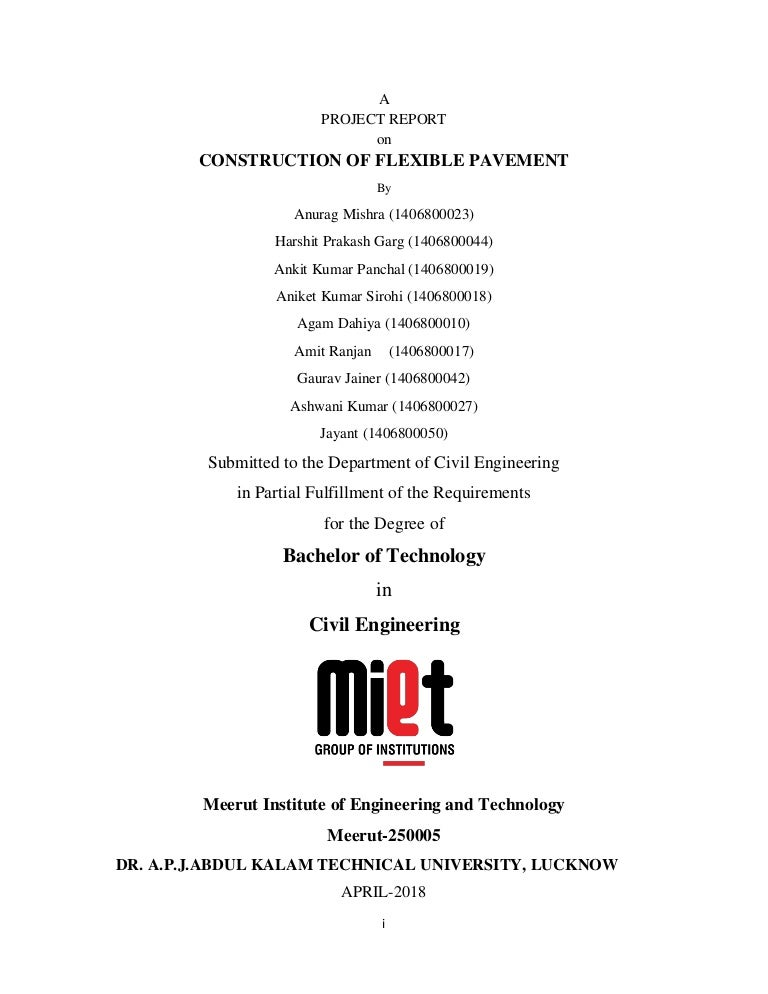 Project report file on construction of flexible pavement by