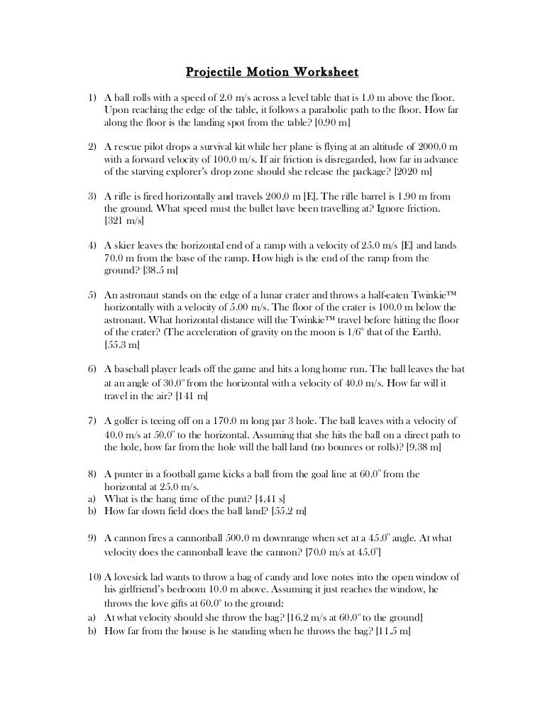 Projectile worksheet – Projectile Motion Worksheet
