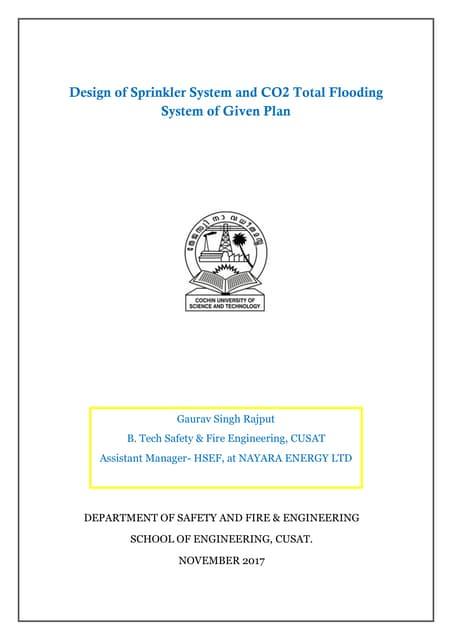 Design of Sprinkler System and CO2 Total Flooding System of Given Plan I Gaurav Singh Rajput