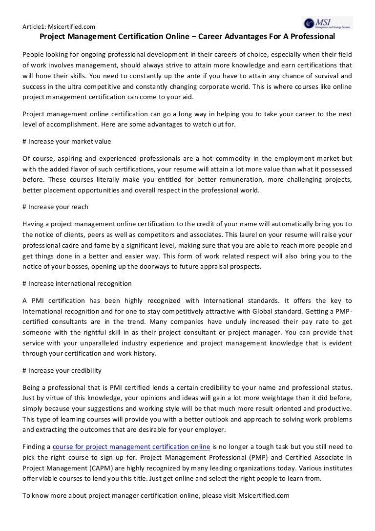 Project Management Certification Online Career Advantages For A Pro