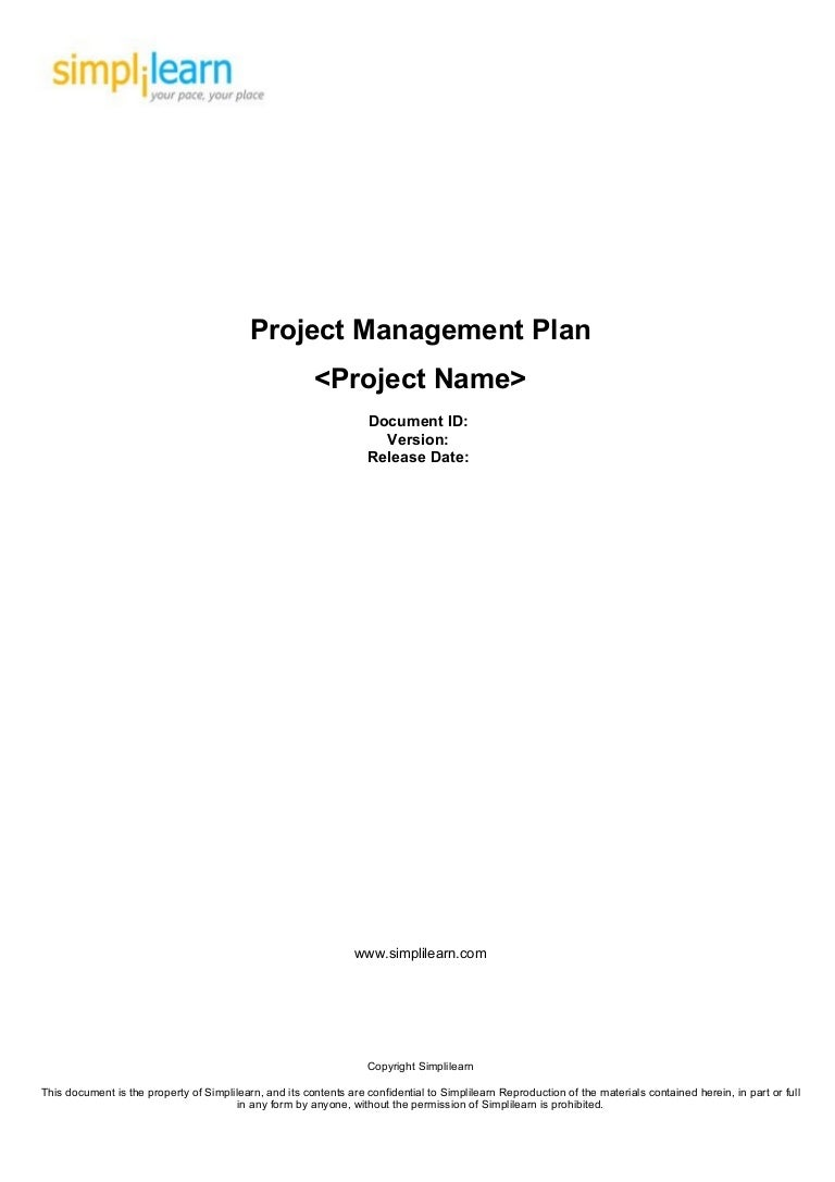 Project Management Plan Template – Project Cover Page Template