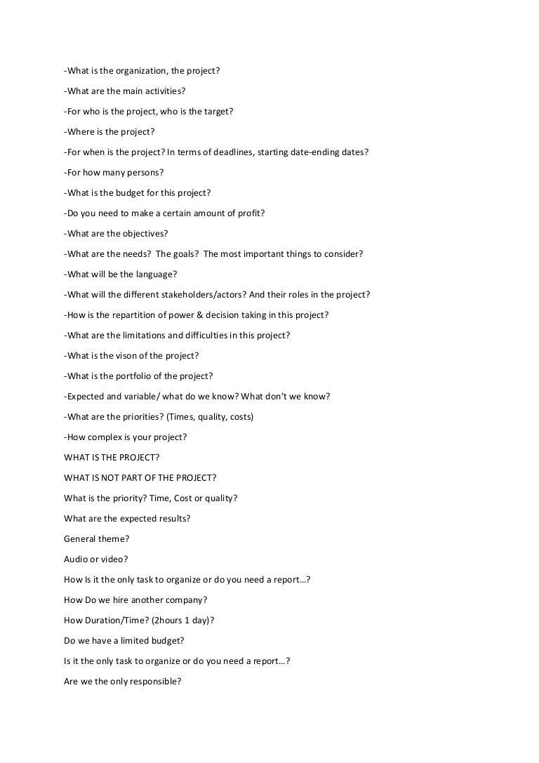 project management questions list