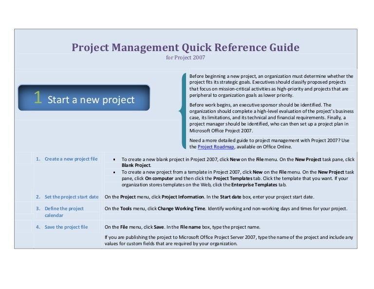 Project Management Quick Reference Guide for Microsoft Project 2007