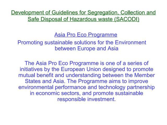 Project on hazardous waste sacodi
