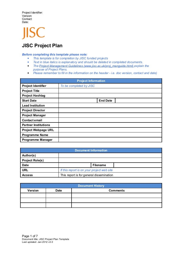 Project plan template v3.0 jan 2012