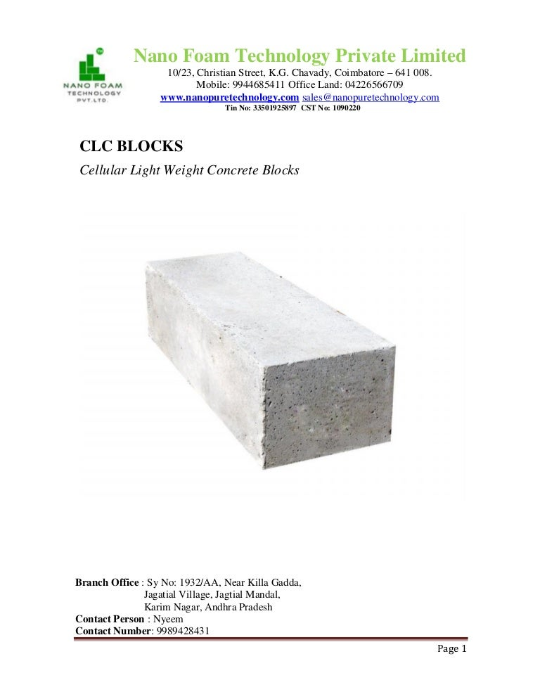 Cellular lightweight concrete bricks pdf
