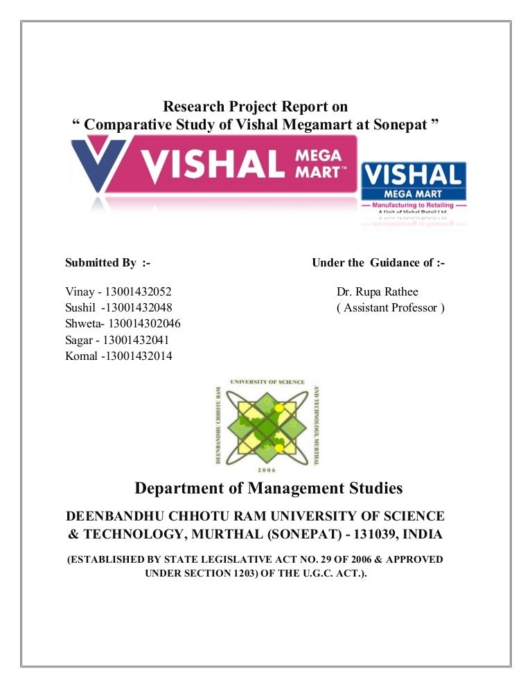 Research Project On Vishal Mega Mart