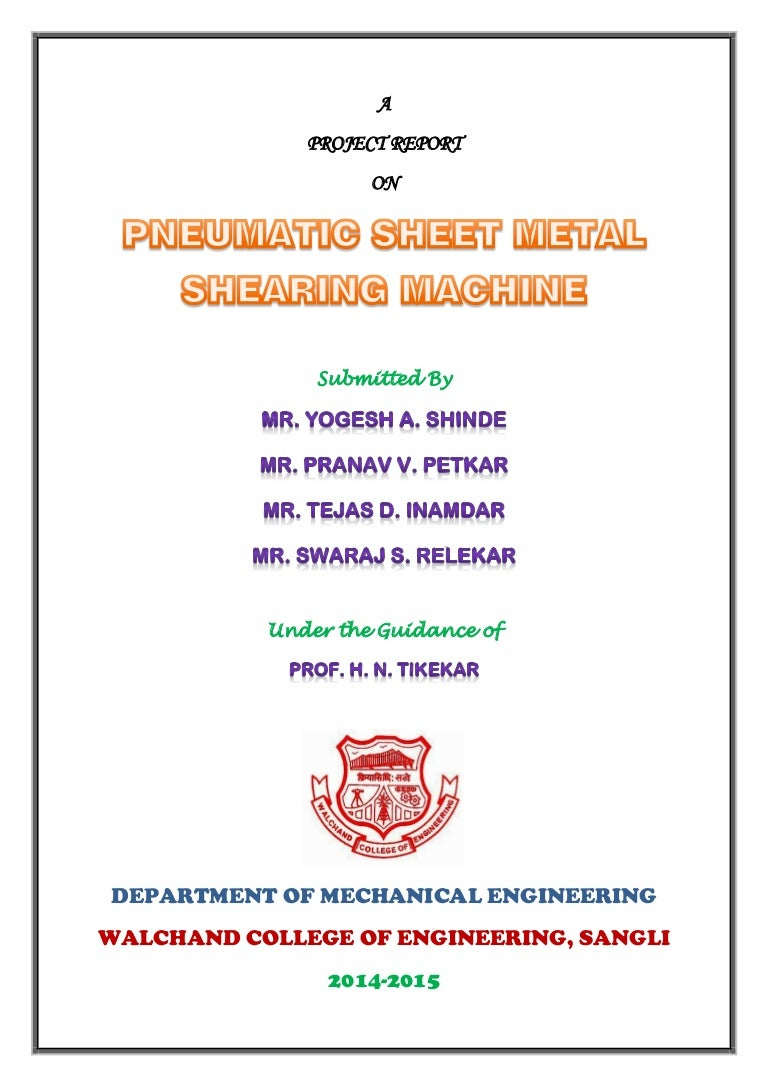 Sheet metal bending machine project report pdf