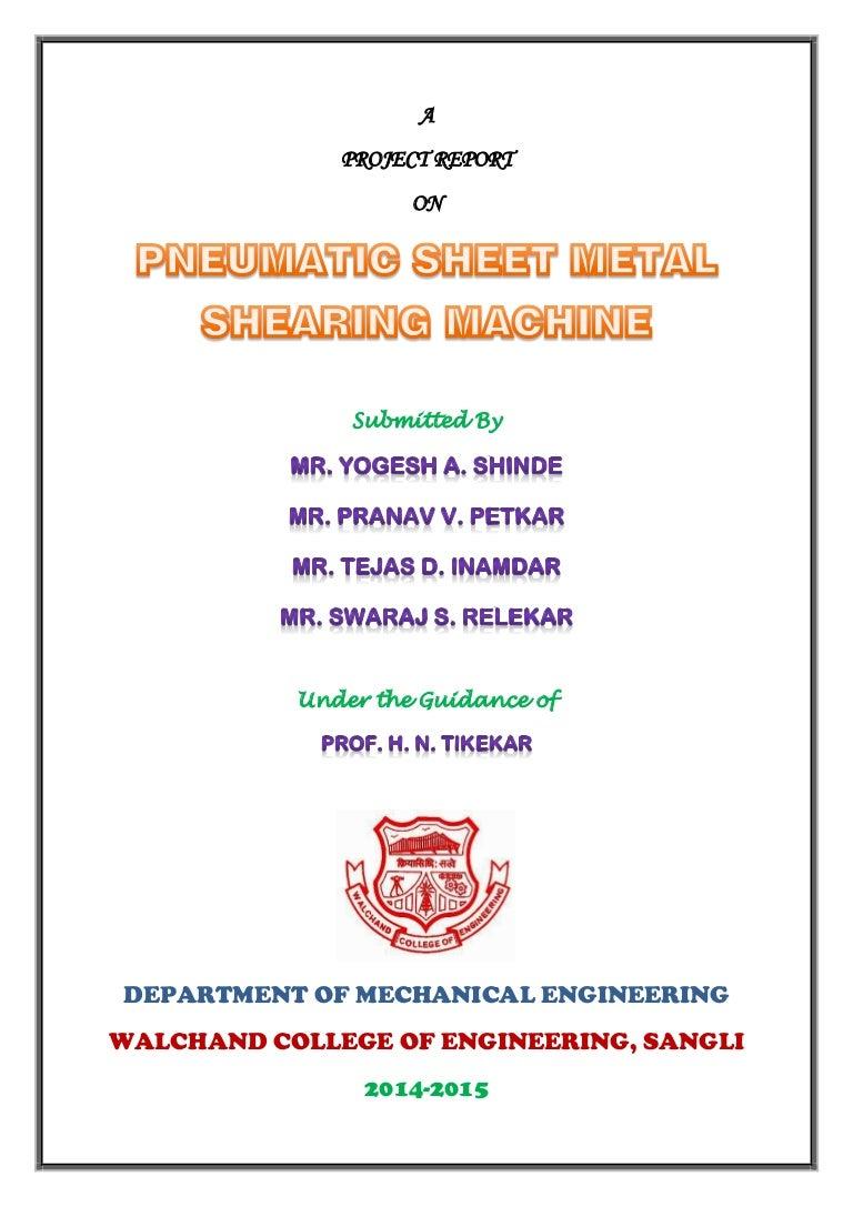 Sheet metal bending machine project report pdf