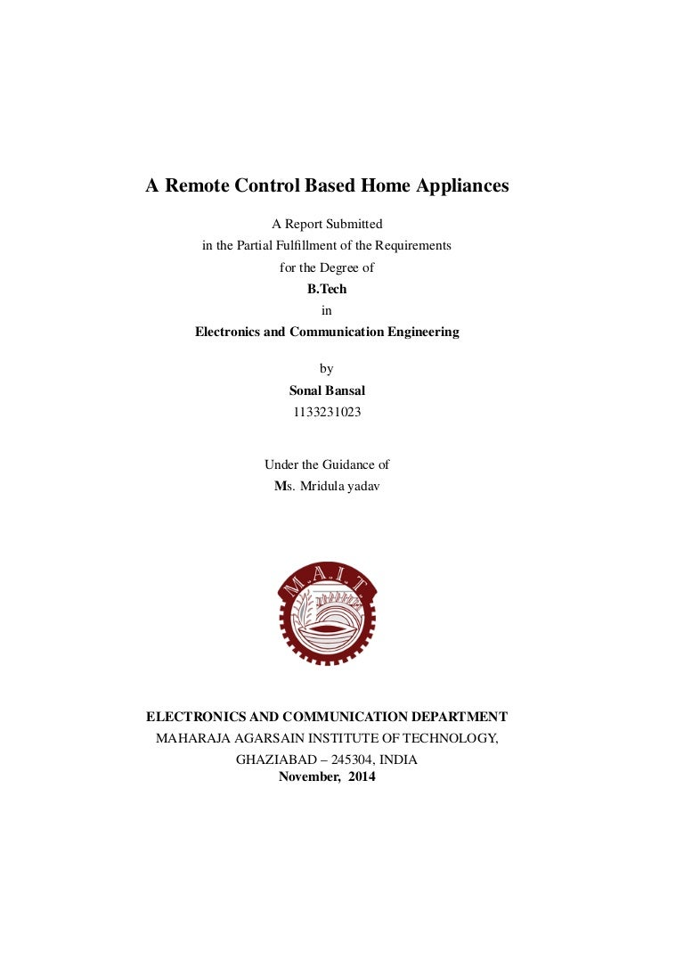 Report On Remote Control Home Appliances Controlled Appliance Switch Circuit