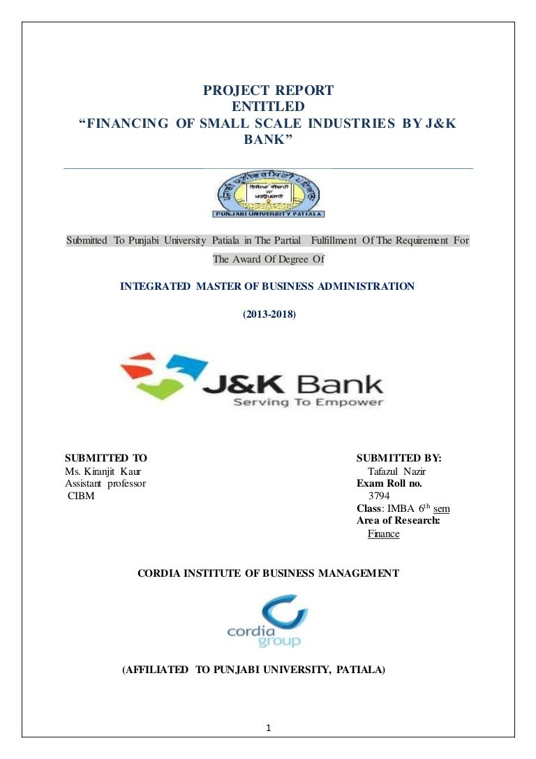 FINANCING OF SMALL SCALE INDUSTRIES BY J&K bank\