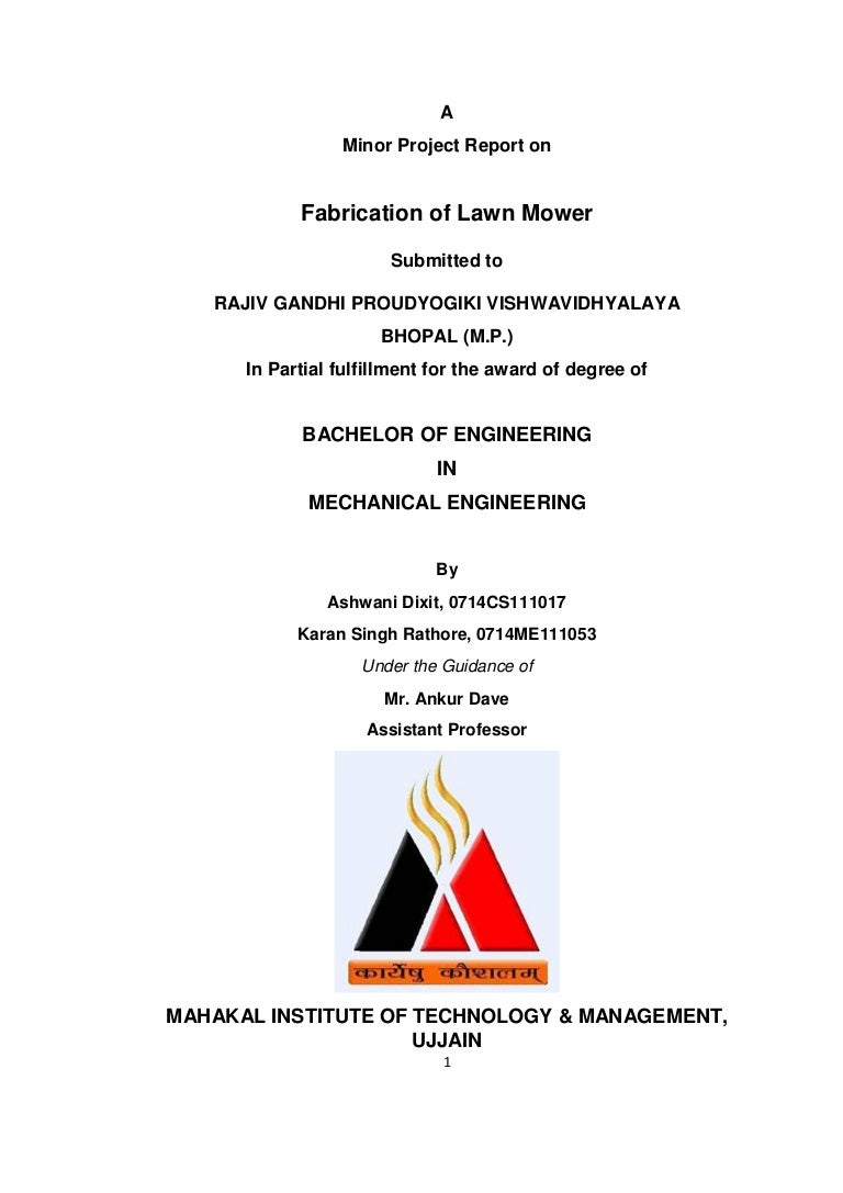 Lawn Mower Minor Project report For MITM Ujjain