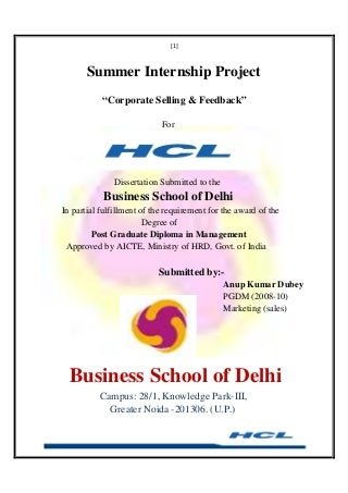 Project Report (Marketing) At Hcl