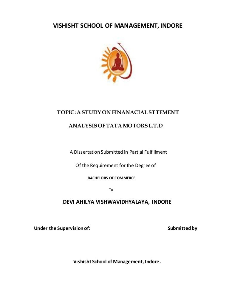 Financial Statment Analysis of TATA MOTORS