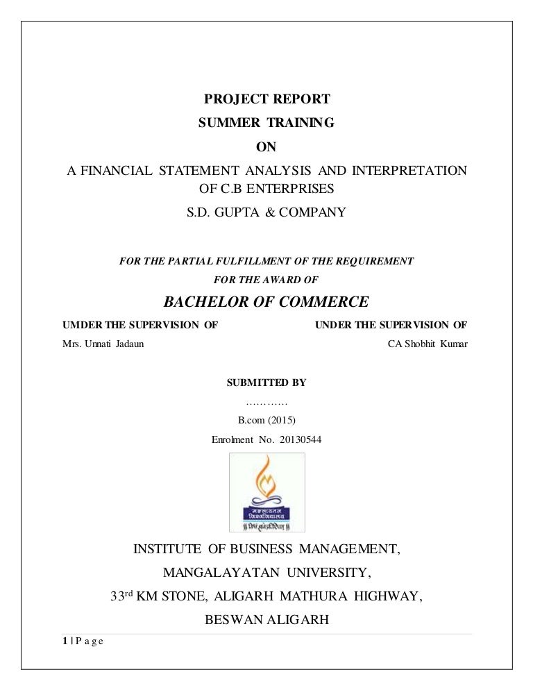 Project Report On Financial Statement Analysis And